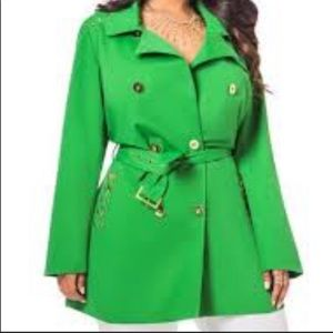 Ashley Stewart Green Trench Coat Gold Studs Button